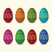 Set easter eggs with golden flowers, butterfly ornament