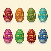 Set easter eggs with golden flowers, geometric ornament
