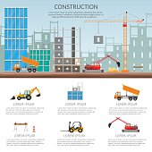 Set elements construction Concept process construction building house vector set