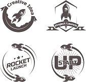Set emblem Space rocket ship