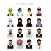 set - face Arab women and man  avatar,