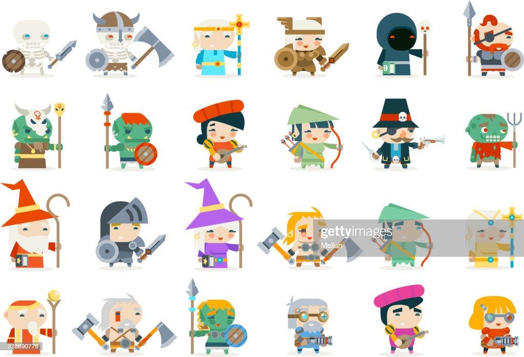 Set fantasy rpg game heroes villains minions character vector icons flat design vector illustration