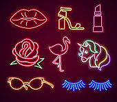 Set fashion neon sign