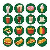 Set fast food icon. Cup cola, hamburger, pizza, burrito