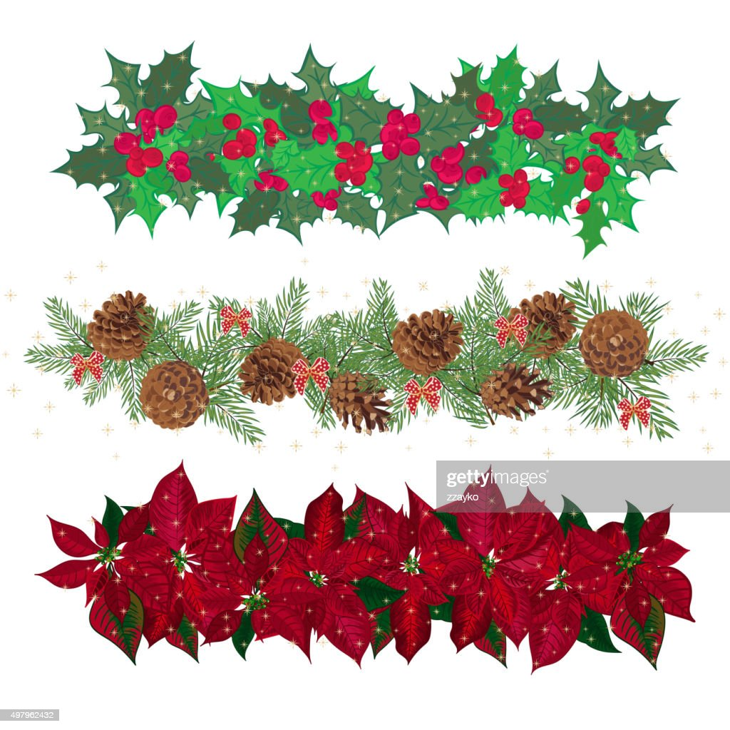 Set festive garlands of holly berry and  cineraria
