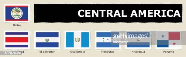 中央アメリカの郵便切手を設定 - エルサルバドル国旗点のイラスト素材/クリップアート素材/マンガ素材/アイコン素材
