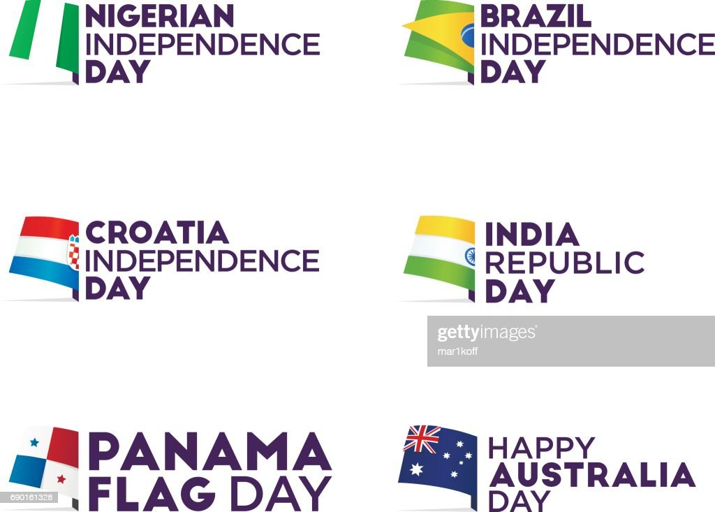Set Flag theme holiday - Independence Day, Flag Day, Respublic Day. , emblem