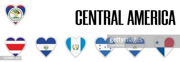 影と白い輪郭を持つハートに中央アメリカの旗を設定 - エルサルバドル国旗点のイラスト素材/クリップアート素材/マンガ素材/アイコン素材