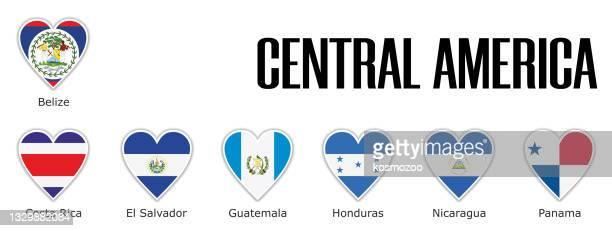 名前を持つ影と白い輪郭で中央アメリカの旗を心に設定 - エルサルバドル国旗点のイラスト素材/クリップアート素材/マンガ素材/アイコン素材
