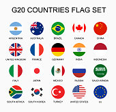 Set flat colorful vector circle flags of the country members G20. Group of nations.