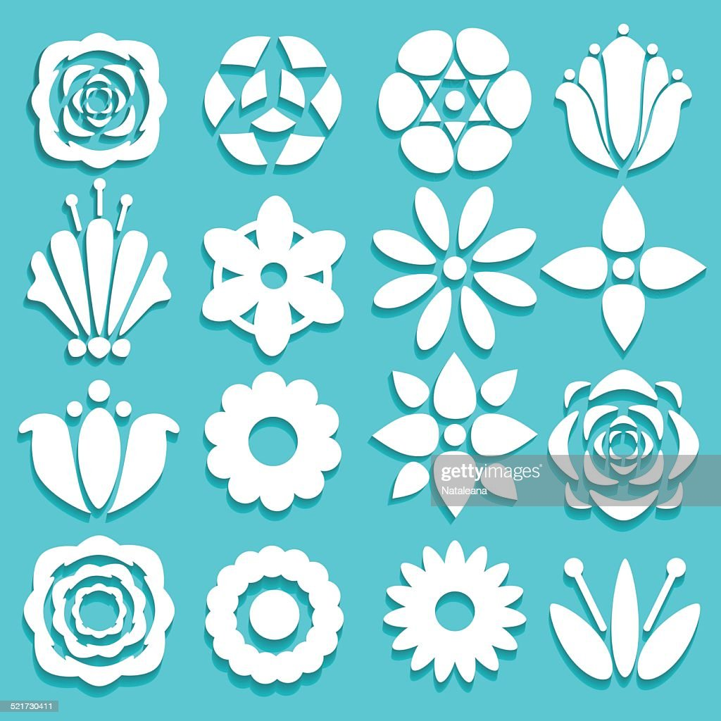 Set flowers isolated. Floral flat icons