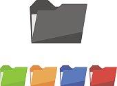 Set folder icon on white background. Vector illustration