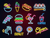 Set food and drink neon sign. Neon sign, bright signboard, light banner. Vector icons