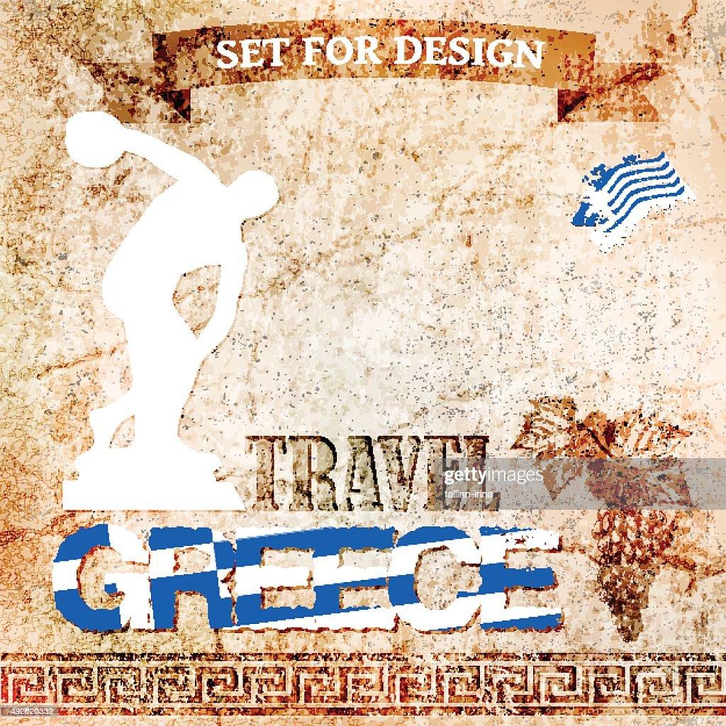 set for design  travel to Greece. vector illustration