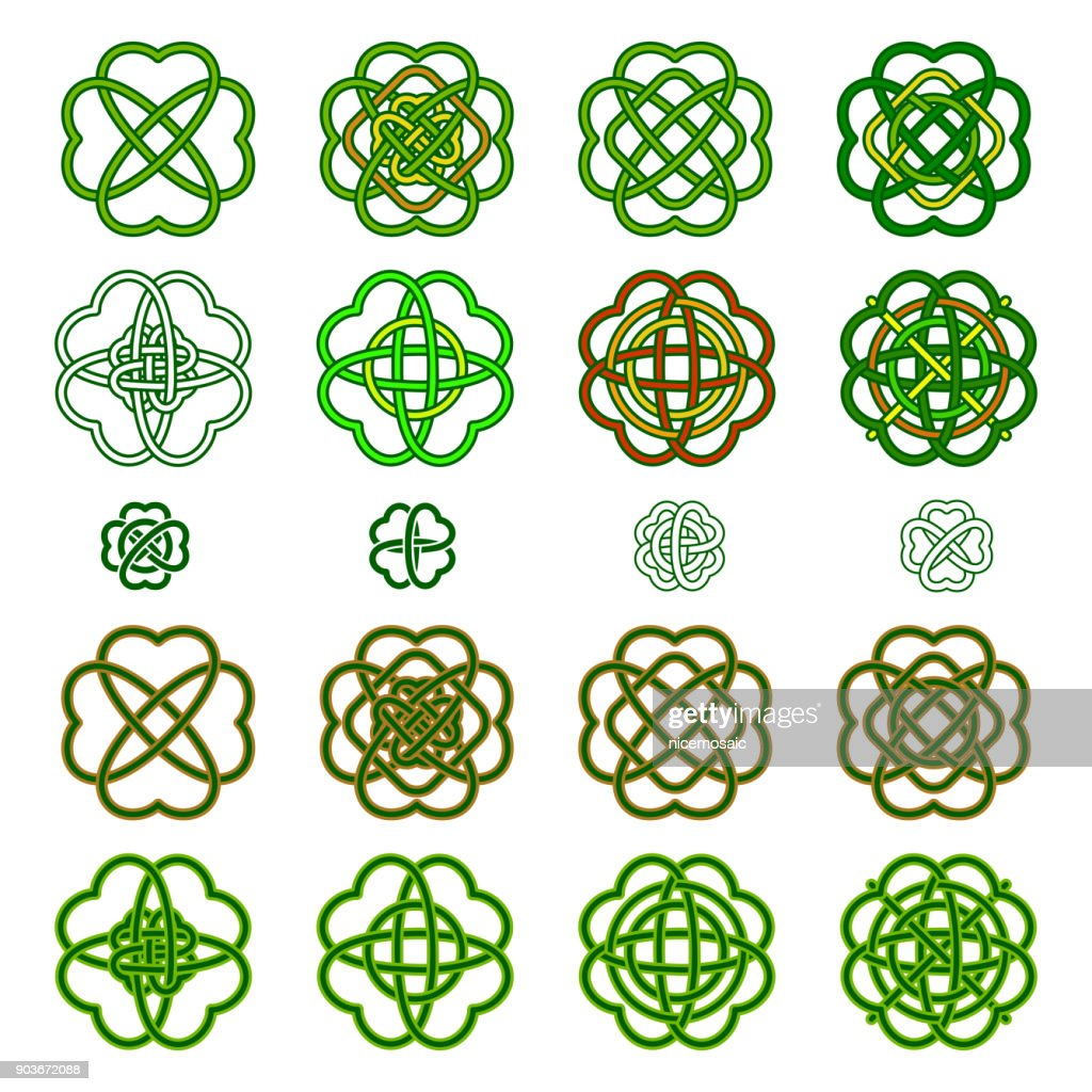 Set Four leaf clover shaped knot in green colours, Celtic style, vector illustration. St. Patrick's day