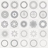 Set fractal and swirl shape element. Vintage labels