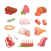 Set fresh meat products. Steak in cartoon style. Vector isolated illustration beef steak, pork sausage, ham, bacon slice. Menu design.