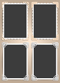 Set from four frames for photos in vintage style. The ideas for scrapbooking