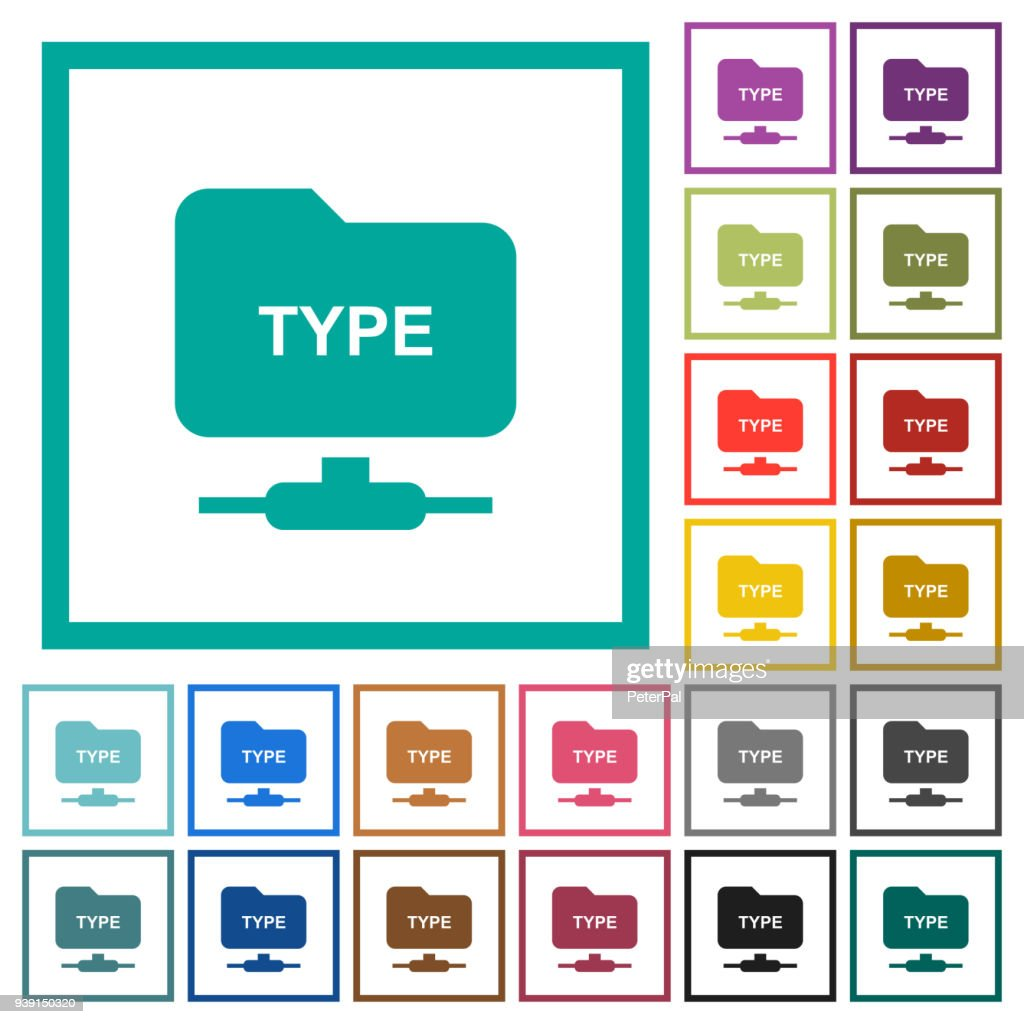Set FTP transfer mode flat color icons with quadrant frames