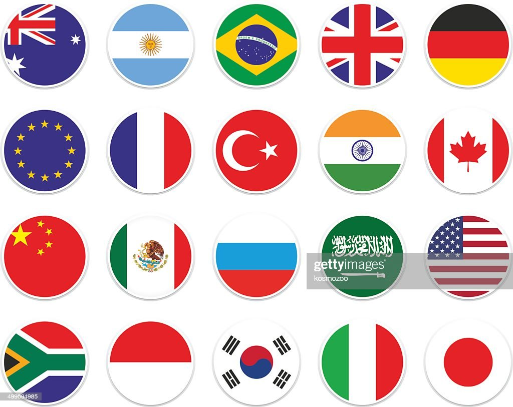 set G-20 circle flag : stock illustration