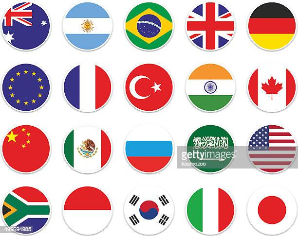 set g-20 circle flag - italy stock illustrations