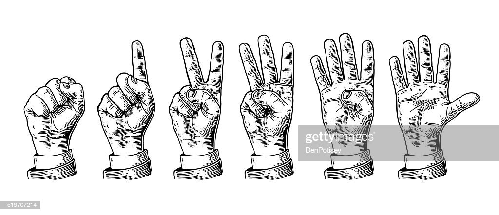 Set gestures hands counting from zero to five.