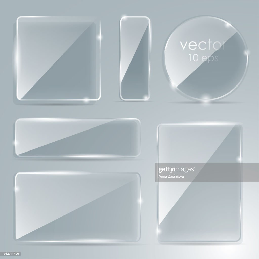 Set glass plate with a place for inscriptions. vector. Flat glass. Glass framework. Vector illustration. Eps 10. Photo realistic vector illustration.