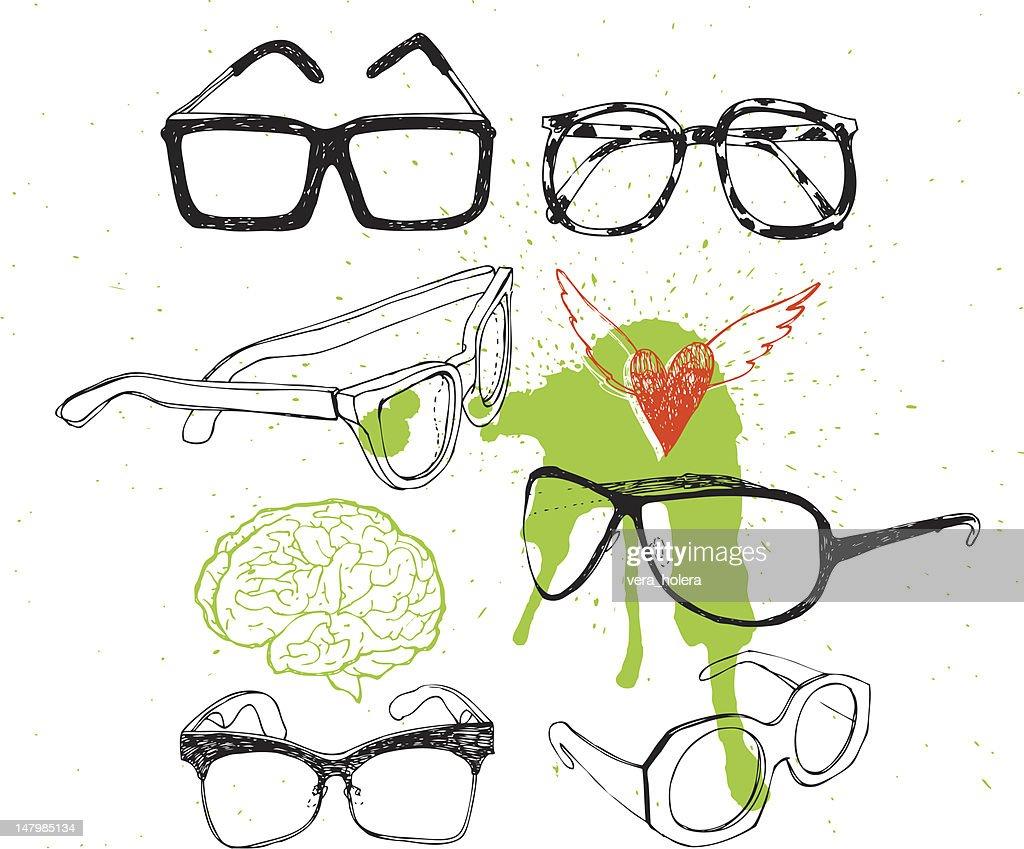 Set glasses and sunglasses