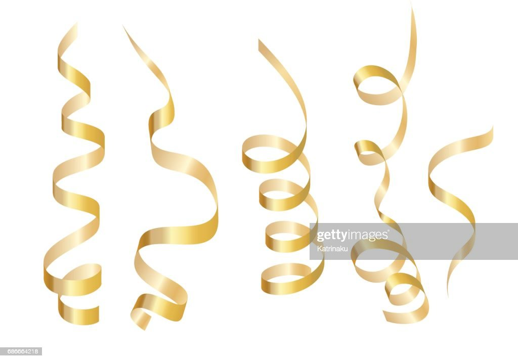 Set gold curly ribbon serpentine. Isolated on white background. Vector illustration