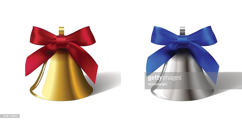 set golden bells with red bow and silver with blue