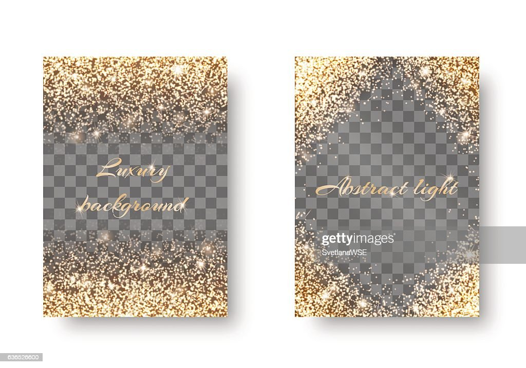 Set golden light transparent background
