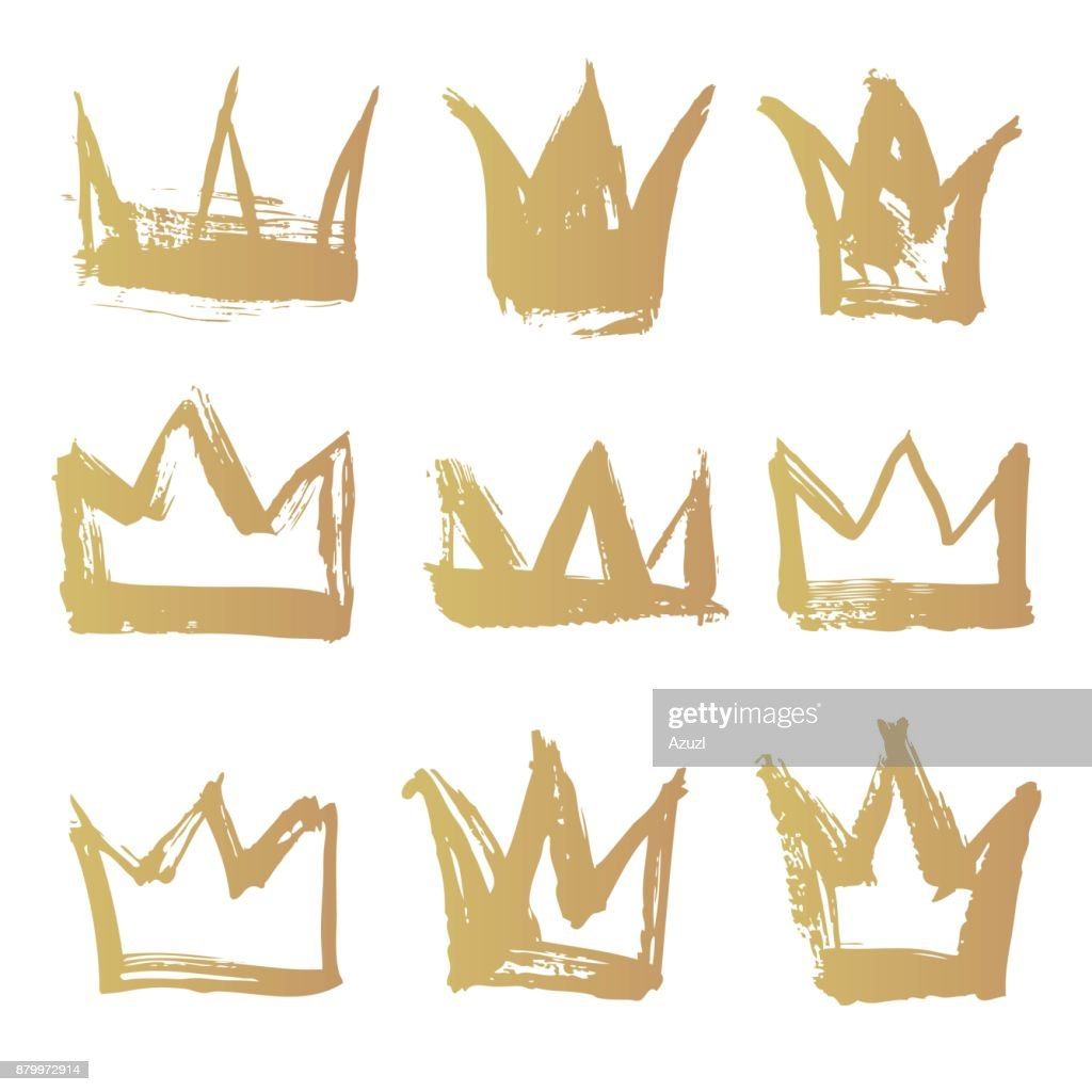 Set golden texture strokes thick paint in the form of a crown isolated on white background