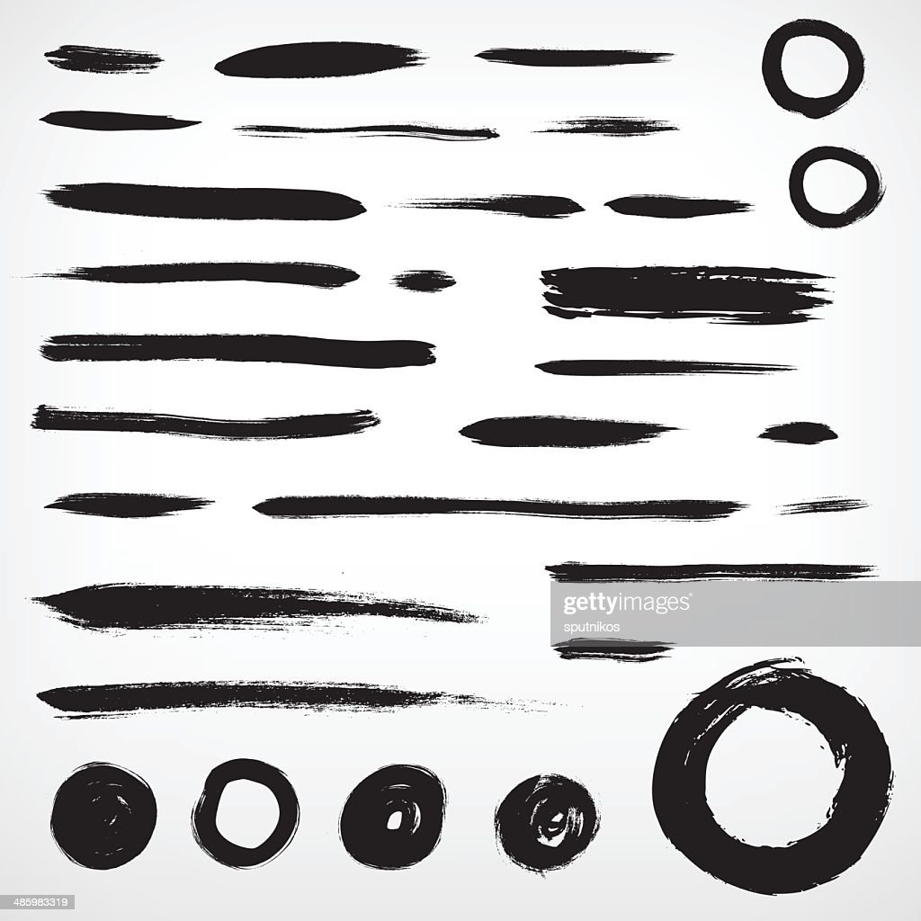 set grunge brushed elements. lines and circles