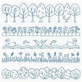 Set hand drawn nature border