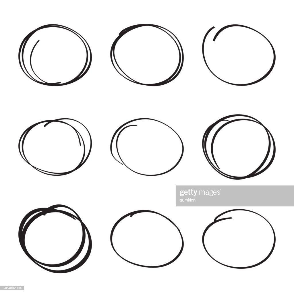 Set hand drawn ovals, felt-tip pen circles