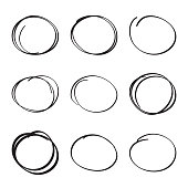 Set hand drawn ovals, felt-tip pen circles