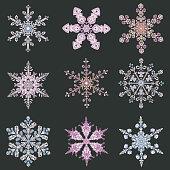 Set hand-drawn doodles color snowflake. Mandala style.
