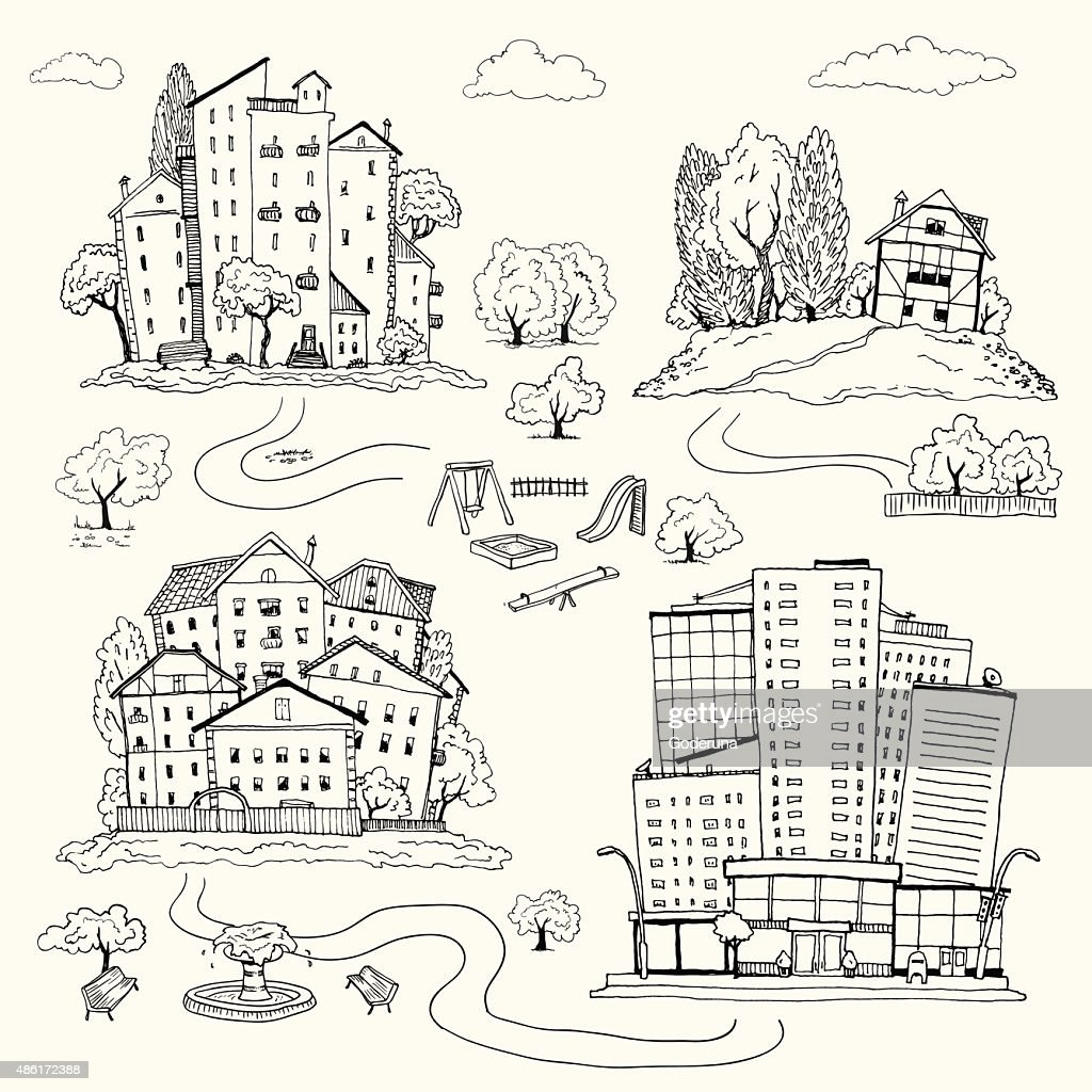 Set handdrawn illustrations of houses. silhouettes of different urban landscape