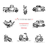 Set, hand-drawn vintage kids transport toys, car, motorcycle, bicycle, truck and airplane. Quick ink sketch.