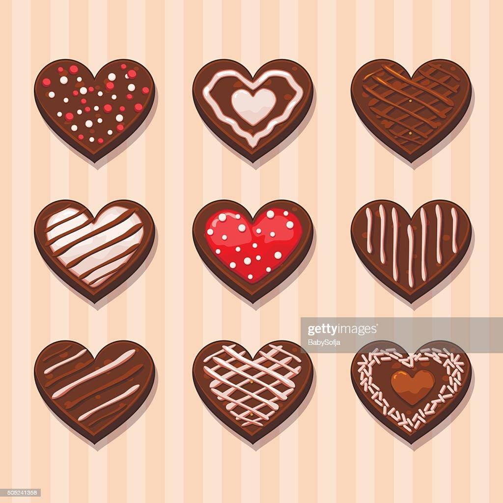 Set Heart chocolate cookies