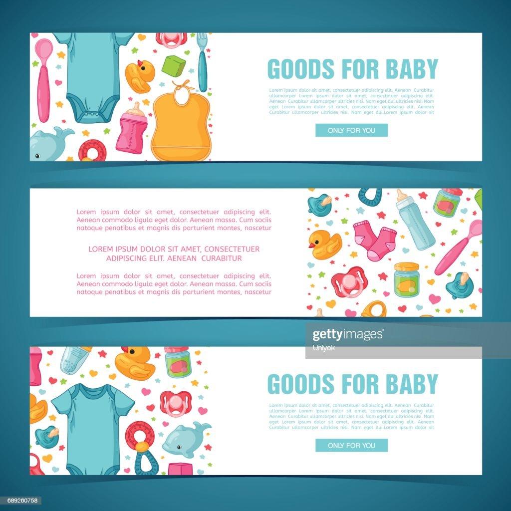 Horizontale Banner Mit Der Kindheit Muster Festgelegt Neugeborenen ...