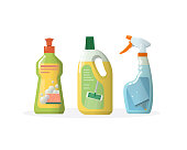 Set household, cleaning products for windows, floors, in plastic bottles