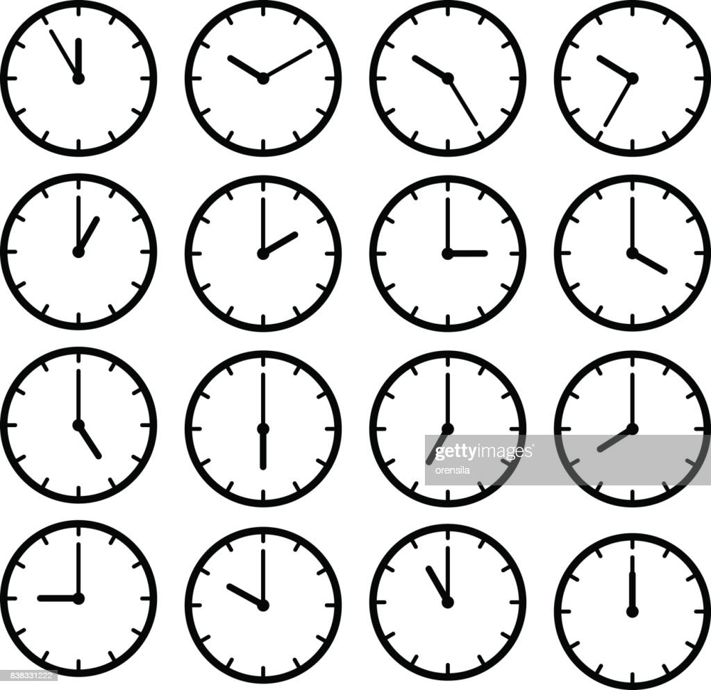 Set icon black clock face