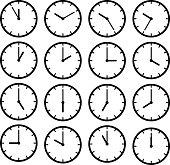 Set icon black clock face