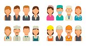 Set icon character cook, builder, business and medical people.