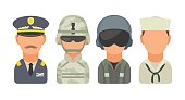 Set icon character military people. Soldier, officer, pilot, marine, sailor