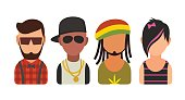 Set icon different subcultures people. Hipster, raper, emo, rastafarian.