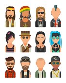 Set icon different subcultures people. Hipster, raper, emo, rastafarian, punk, biker, goth, hippy, metalhead, steampunk, skinhead, cybergoth.