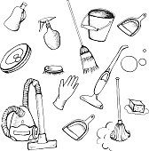 Set icon of cleaning service