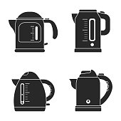 Set icon silhouette modern electrical kettle